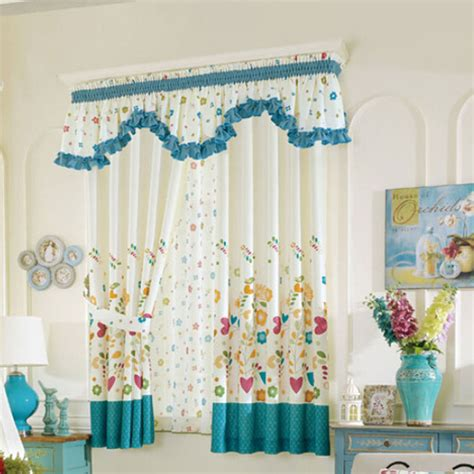 White And Teal Curtains Leaf Patterned White Teal Polyester Curtains