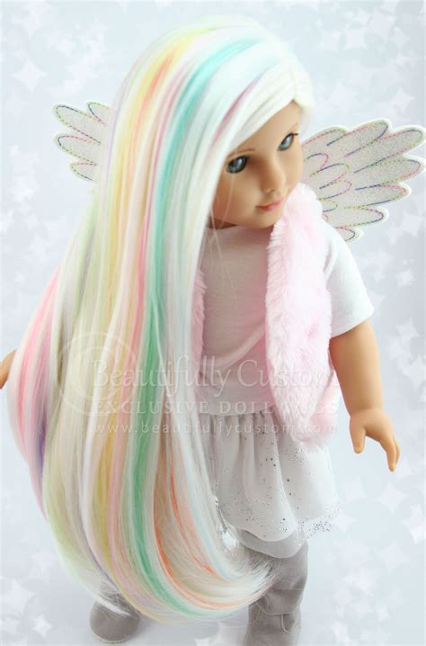 explore luxury wigs unicorn pastel white rainbow highlights luxury doll wig