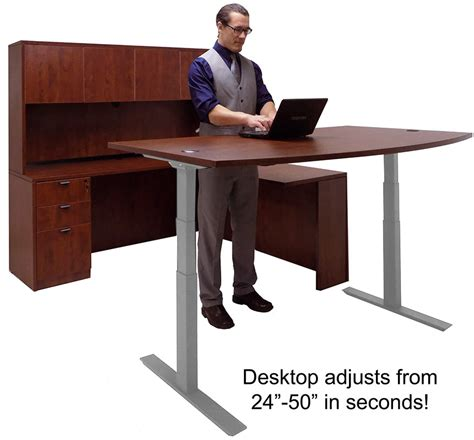 electric height adjustable computer desk electric lift adjustable height cherry u desk w hutch