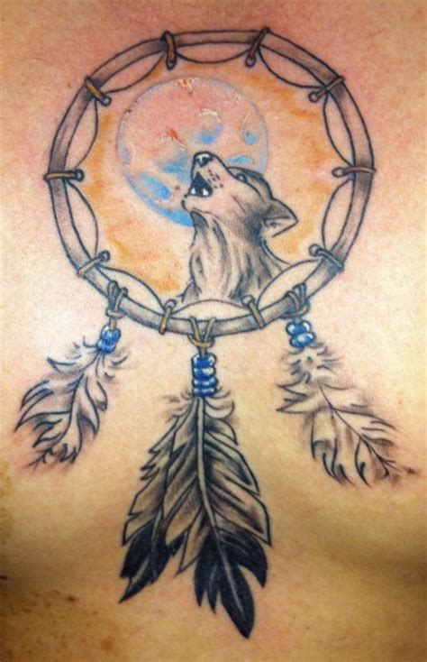wolf and dreamcatcher tattoo designs wolf dreamcatcher
