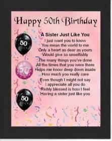 Personalised mounted poem print 50th birthday sister poem ebay