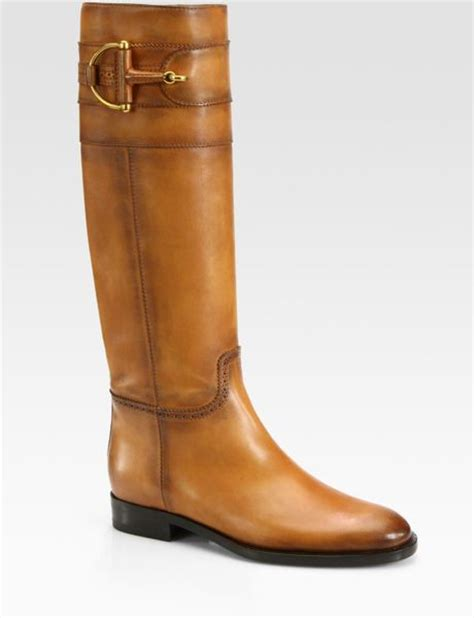 gucci class burnished leather horsebit boots in brown