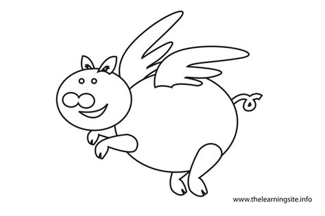 flying pig coloring page flying pig flashcard