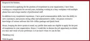 Exle Of Cover Letter For Receptionist Position by Cover Letter Exles For Receptionist Administrative Assistant
