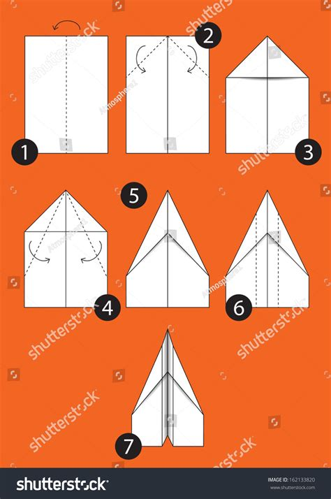 Steps To Make Paper Airplanes - how make origami paper airplane stock vector