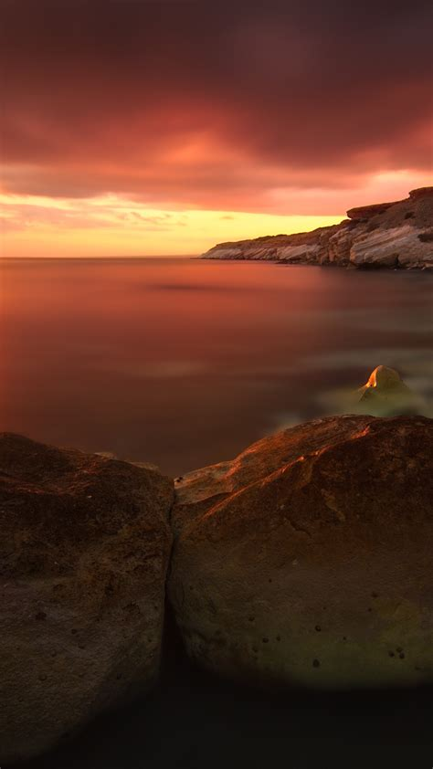 wallpaper sunset  hd wallpaper rocks sea ocean