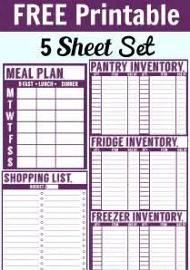 free printable menu planner shopping list inventory sheets