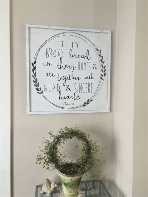 Bible Verses For Home Decor wood art they broke bread acts 2 46 bible verse
