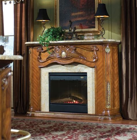 Marble Top Electric Fireplace by Michael Amini Cortina Fireplace With Marble Top Electric