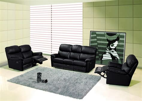 Modern Black Leather Reclining Sofa Set Loveseat Recliner