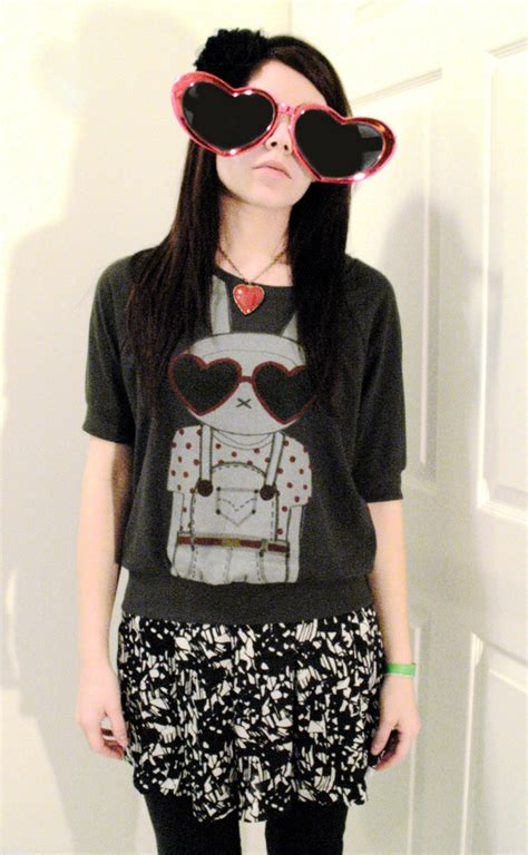 Fifilapin Big Size Tshirt h sweet flower headband fifi lapin t abstract print skirt i you i you i