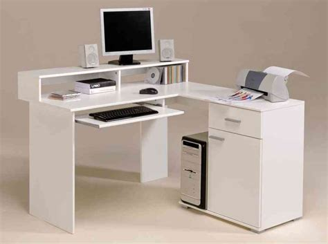 white corner desk with shelves and drawers decor