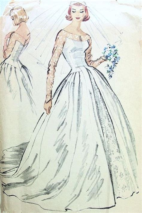 pattern dress with train 1950s dreamy wedding gown bridal dress pattern mccalls