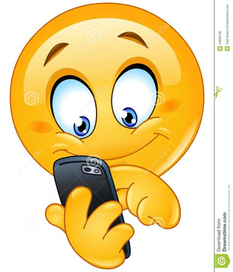 mobile emoticons emoticon with smart phone stock vector image 44835105