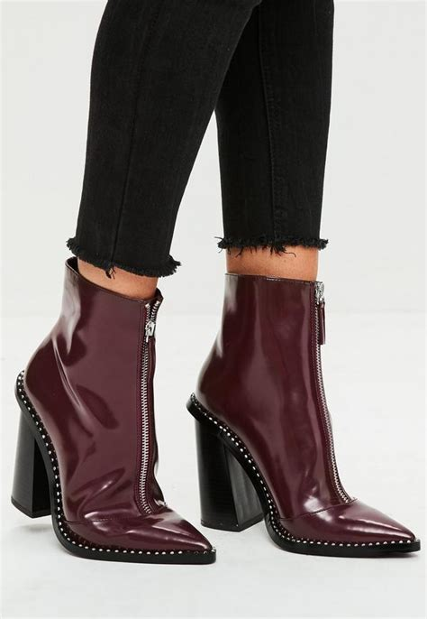 Boot Zipper Marron burgundy front zip pointed ankle boots missguided