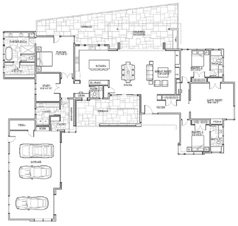 single story home floor plans open floor plans for single story modern shed homes 3312 sq ft with 3 bedrooms 3 baths