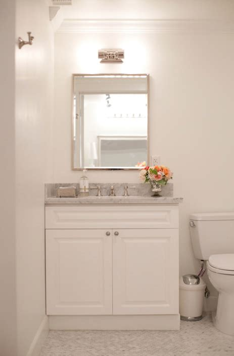 white vanity  marble top contemporary bathroom