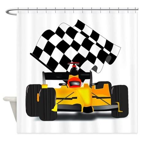 race car shower curtain yellow race car with checkered flag shower curtain by