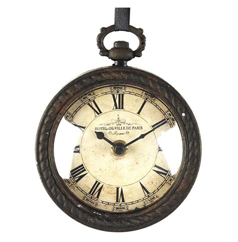 wall watch pocket watch style vintage french rustic ribbon round wall