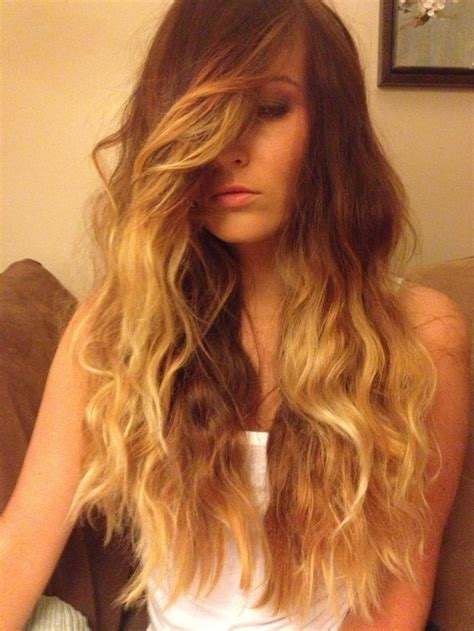ombre and side swept long brown hair with highlights haircolor ombre side