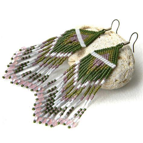 how to make beaded fringe earrings dangle earrings green beaded fringe earrings by