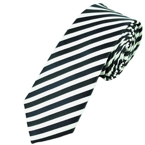 black white thin striped tie from ties planet uk