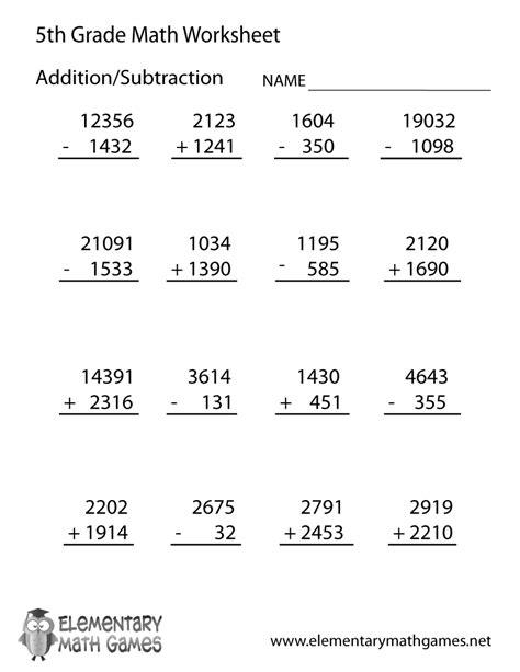Grade Worksheets Math by Fifth Grade Arithmetic Worksheet