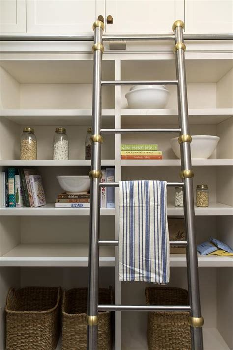 Pantry Ladder by Kitchen Pantry With Open Shelving