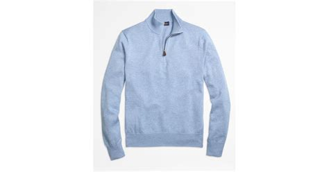Sweater Inter Blue Half Zipper 1516 lyst brothers supima 174 cotton half zip sweater in blue for