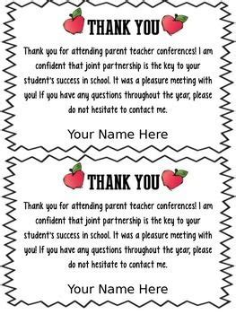 thank you letter to parents for always being there freebie editable parent conference forms thank