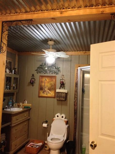 barn bathroom ideas barn tin bathroom ceiling decorating ideas pinterest corrugated metal bee cave and