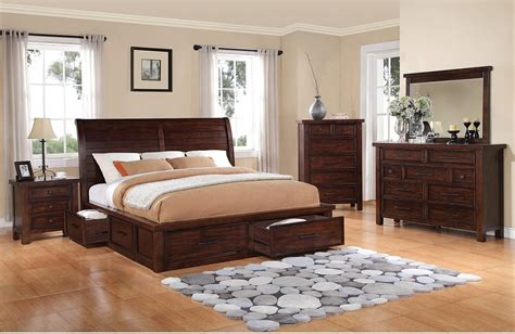 sonoma  piece king storage bedroom set dark brown  brick