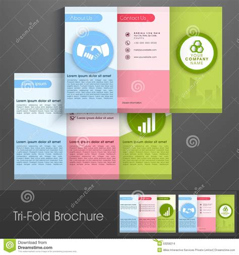 brochure design with trifold colorful template colorful trifold brochure flyer or template for business