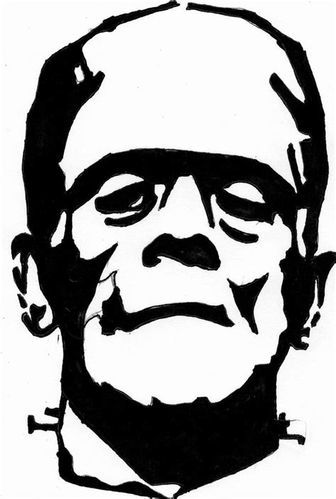 Printable Frankenstein Pumpkin Carving Pattern Template Free Download Funny Halloween Day 2018 Ornament Stencil Template