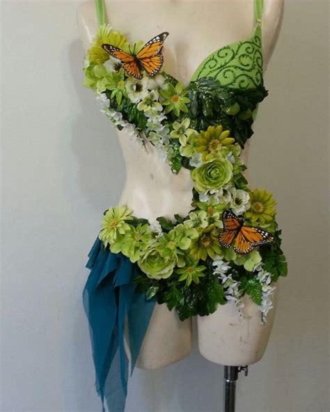 chic decor diy elegant fairy fantasy flower flowers garden fairy costume rave bra custom event outfit gold