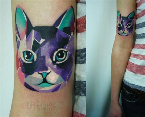 tattoo geometric cat geometric cat arm tattoo tattoomagz