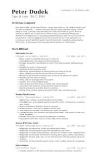 Banquet Server Cover Letter by Bartender Resume 8 Free Sle Exle Format Free