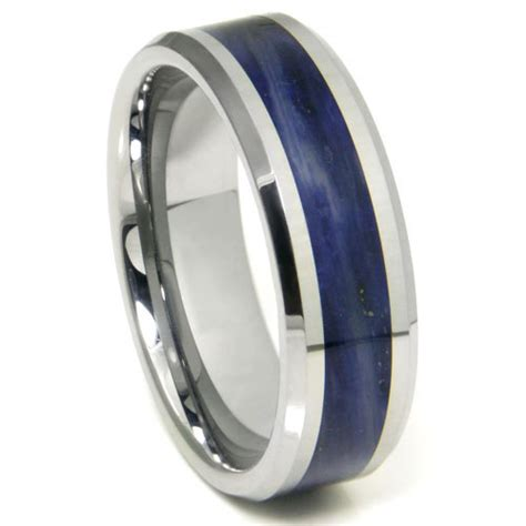 Wedding Bands Blue by Tungsten Carbide Royal Blue Riverstone Inlay Wedding Band Ring