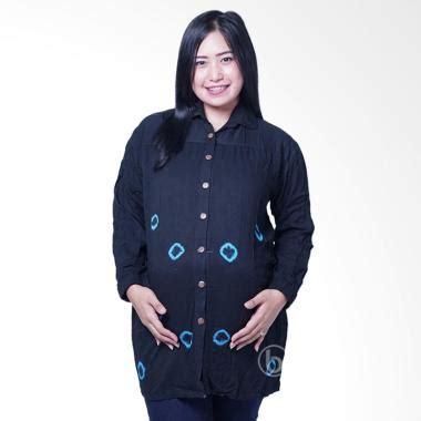 Baju Hitam Lengan Panjang Kosong jual blj 423 batik kelereng hitam manis baju atasan lengan panjang biru