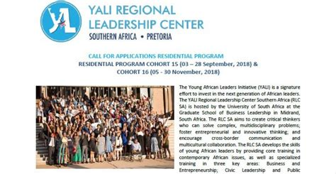 Southern Mba Application Deadline by Yali Regional Leadership Center Southern Africa