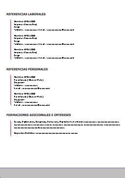 Modelo De Curriculum Vitae Para Llenar Y Descargar Ejemplo De Curriculum Vitae En Espa 241 Ol