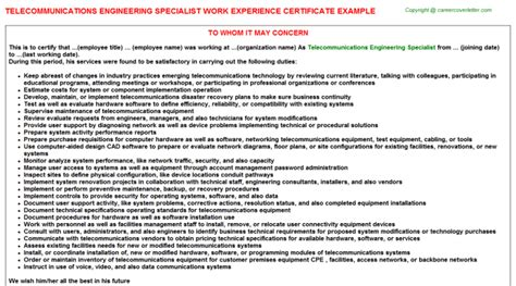 Experience Letter Buy telecommunications engineering specialist work experience