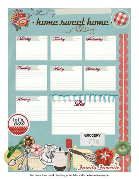 pretty printable meal planner all about food storage