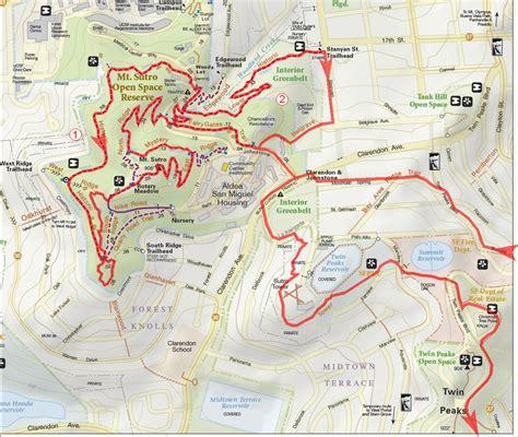 san francisco map glen park san francisco peaks bay area mountain bike rides