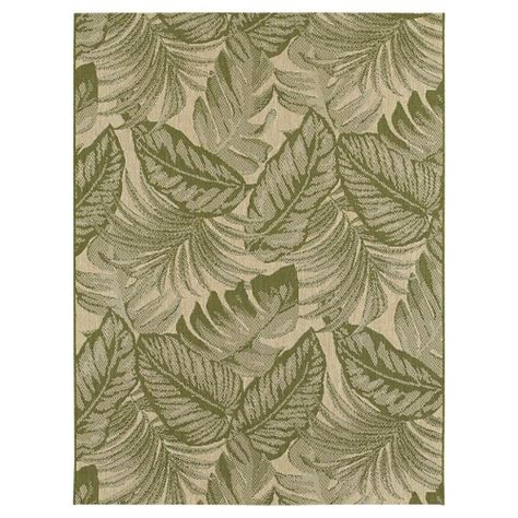 Tropical Leaves Green Outdoor Rug Threshold Ebay Tropical Outdoor Rugs