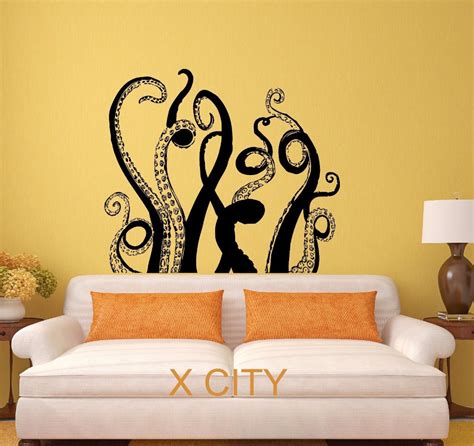 stencil home decor octopus tentacles sea monster black wall art decal sticker