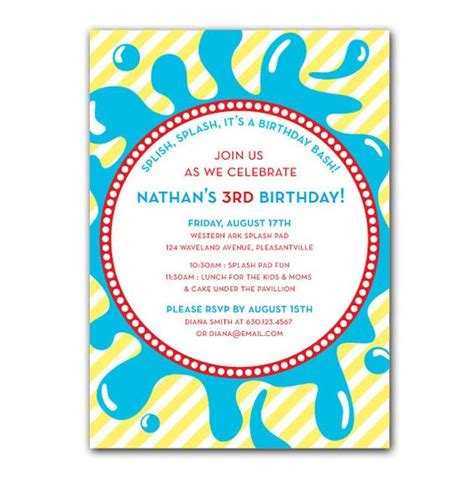 free printable birthday invitations water splash birthday invitations printable splash pool or