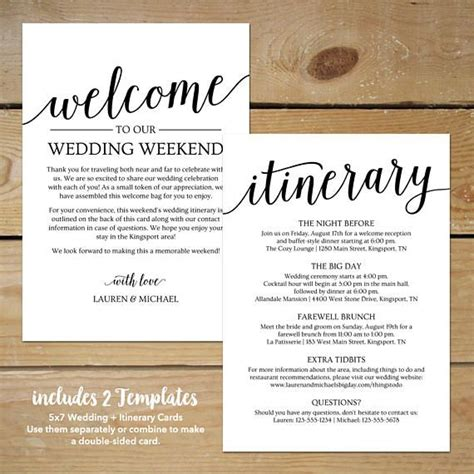 rustic wedding itinerary template printable wedding