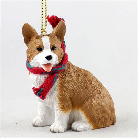 welsh corgi dog christmas ornament scarf figurine pembroke