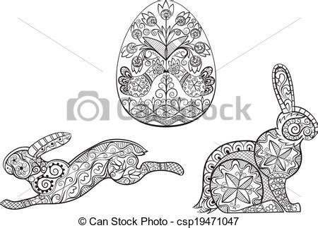 Coloring pages symbols of easter egg hare rabbit. Line